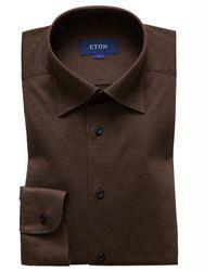 Eton Overhemd Jersey - Bruin