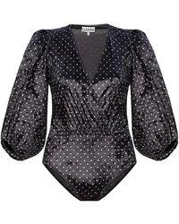 Ganni Body With Puff Sleeves - Zwart