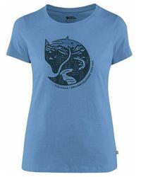 Fjallraven Camiseta Arctic Fox Print - Blu