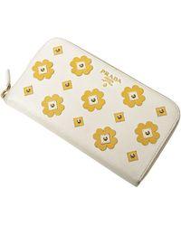 Prada Saffiano Floral Long Wallet - Wit