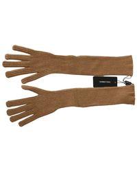 Dolce & Gabbana Elleboog Lengte Mittens Handschoenen - Bruin