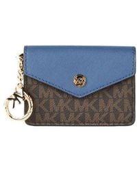 Michael Kors Kala Small Signature Leather Flap Key Ring Card Case - Blauw