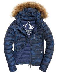 Superdry Fuij Slim Double Zip Hood - Blauw