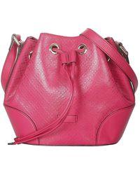 Gucci Diamante Bright Leather Bucket Bag - Roze