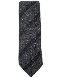 Lanvin Striped Tie - Gris