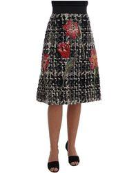 Dolce & Gabbana Wool Sequined Roses Skirt - Noir