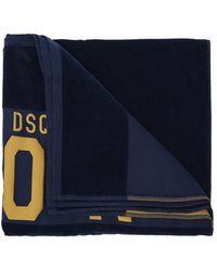 DSquared² Handdoek Met Logo - Blauw