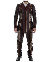 Dolce & Gabbana Gestreepte Runway 3 Stuk Slim Fit Suit - Bruin