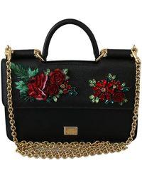 Dolce & Gabbana Crossbody Siciliaanse Leren Tas Met Bloemenkristallen - Zwart