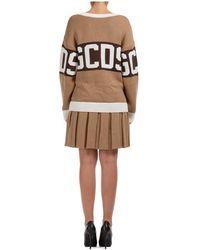 Gcds - Knee length dress long sleeve logo Marrón - Lyst