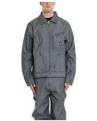 Aries Lee Workwear Stripe 191 Jacket - Bleu
