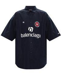 Balenciaga Shirt Met Korte Mouwen Met Logo - Blauw