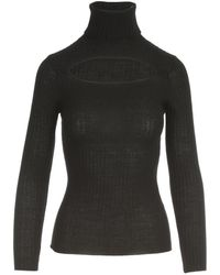 P.A.R.O.S.H. Ribbed Turtle Neck Sweater - Zwart