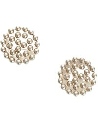 Chanel Vintage CC Runde Ohrclips Metall Messing - Grau