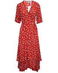 Ganni Print Maxi Wrap Dress - Oranje