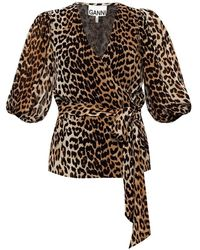 Ganni Patterned Overhemd - Bruin