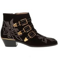 Chloé Susanna Velvet Ankle Boots - Zwart