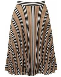 Burberry Logo And Stripe Print Crepe Pleated Skirt - Naturel
