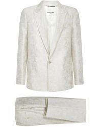 Saint Laurent Jacquard Tailored Pants With Parasol Motif - Naturel