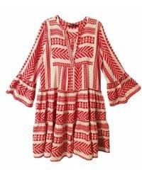 Devotion Vestido Corto Print Etnico - Rood