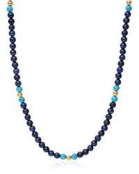 Nialaya Heren Kralen Ketting Met Blauwe Lapis, Bali Turquoise En Gold