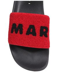 Marni Slide Sandals With Logo - Rosso