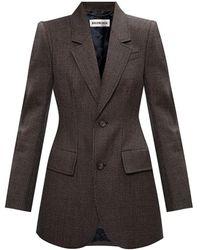 Balenciaga Wool Blazer Met Inkeping Revers - Bruin