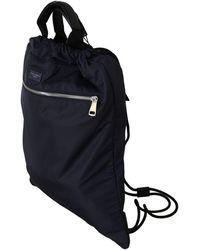 Dolce & Gabbana Blue Nylon Men Nap Sack Drawstring Backpack Bag Negro
