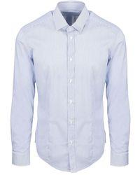 Brian Dales Striped Stretch Shirt - Bleu