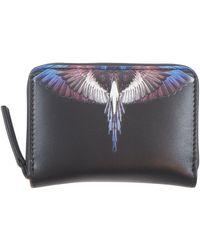 Marcelo Burlon Wings Leather Compact Pocket Bag - Nero