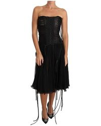 Dolce & Gabbana - Abito longuette a trapezio corsetto - Lyst