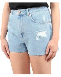 NA-KD Embroidered Denim Shorts - Blauw