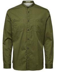 SELECTED Maokraag Overhemd - Groen