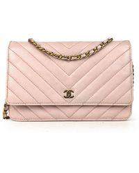 Chanel Vintage Wallet On Chain Crossbody Bag - Roze