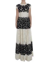 Dolce & Gabbana Floral Lace Ricamo Long Ball Maxi Jurk - Zwart