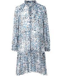 Second Female Clouds Ls Midi Dress Faded Denim - Blauw
