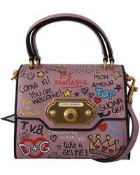 Dolce & Gabbana Leather Dg Crown Crossbody Welkom Purse - Roze