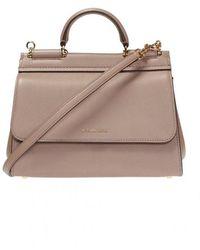 Dolce & Gabbana 'sicily' Shoulder Bag With Logo - Naturel