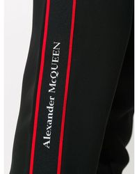 Alexander McQueen Crepe Joggers with Logo Taping Negro