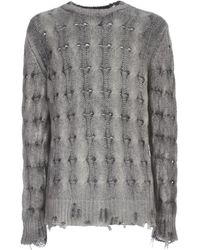 Avant Toi Round Neck Braided Pullover With Destroyed - Gris