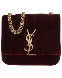 Saint Laurent Small Vicky Bag In Suede - Bruin