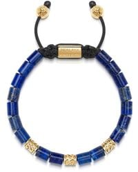 Nialaya Men's Beaded Bracelet With Blue Lapis And Hand Carved Gold Tube Beads - Blauw