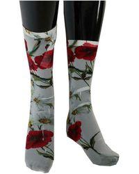Dolce & Gabbana Floral Socks - Gris