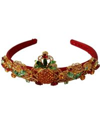 Dolce & Gabbana Lace Crystal Pineapple Floral Diadem - Rood