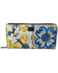 Dolce & Gabbana Majolica Dauphine Continental Clutch Wallet - Blu