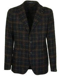 Tagliatore Checked two-button jacket blazer - Nero