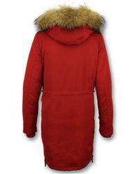 Gentile Bellini Abrigo de invierno - Parka con cuello de piel Rojo