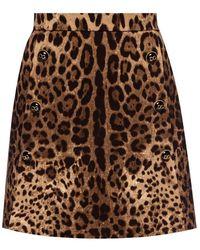 Dolce & Gabbana Leopard Print Skirt - Bruin