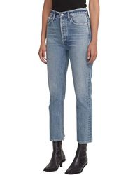 Agolde Riley high rise straight cropped pants - Bleu