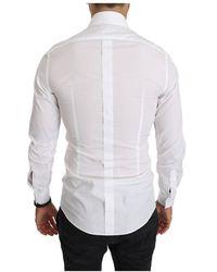 Dolce & Gabbana Fitted Long Sleeve Shirt Blanco
